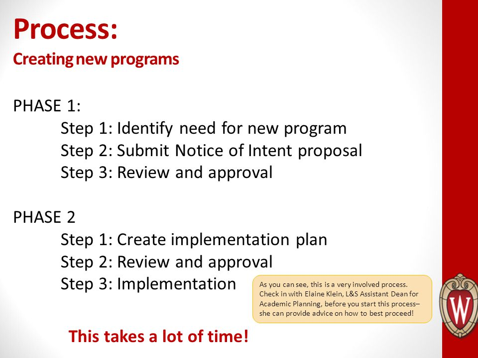 PHASE 1: Step 1: Identify need for new program Step 2: Submit Notice of Intent proposal Step 3: Review and approval PHASE 2 Step 1: Create implementat