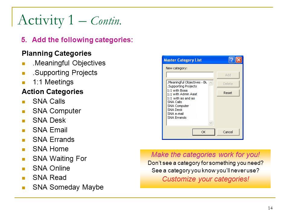 14 Activity 1 – Contin.