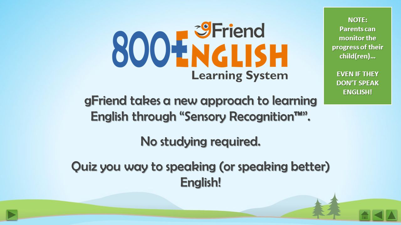 gFriend takes a new approach to learning English through Sensory Recognition™ .