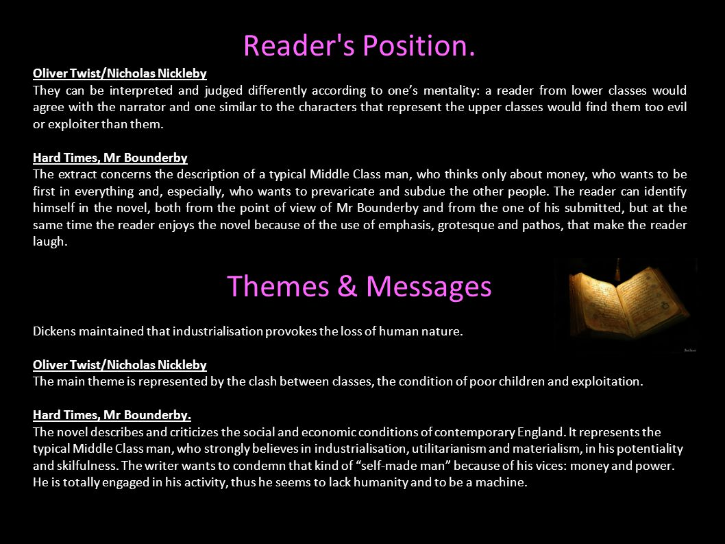 Reader's Position. Oliver Twist/Nicholas Nickleby They can be interpreted and judged differently according to one's mentality: a reader from lower cla