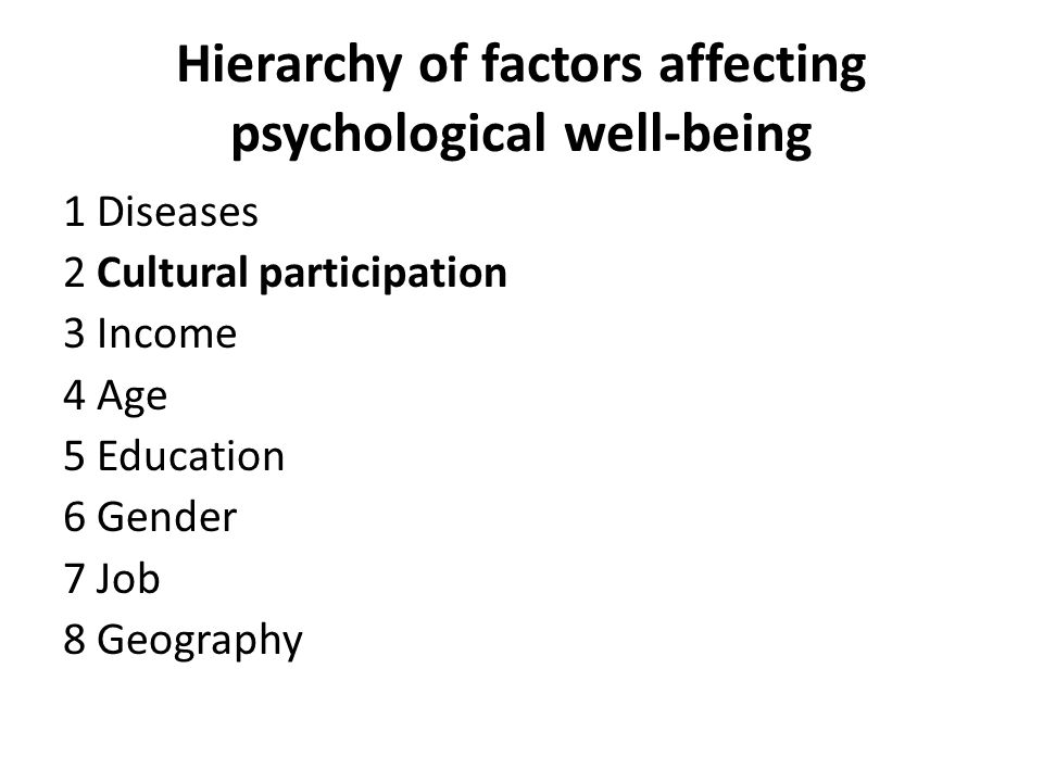 Hierarchy of factors affecting psychological well-being 1 Diseases 2 Cultural participation 3 Income 4 Age 5 Education 6 Gender 7 Job 8 Geography