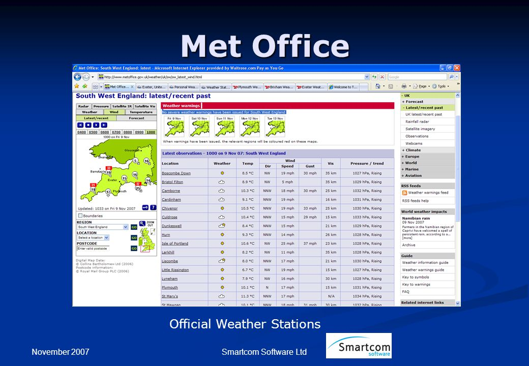 November 2007 Smartcom Software Ltd Met Office Official Weather Stations