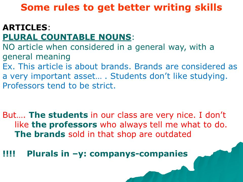 Some rules to get better writing skills ARTICLES: SINGULAR Always put an article (the-a) with singular COUNTABLE NOUNS same as we do in Italian Ex: a