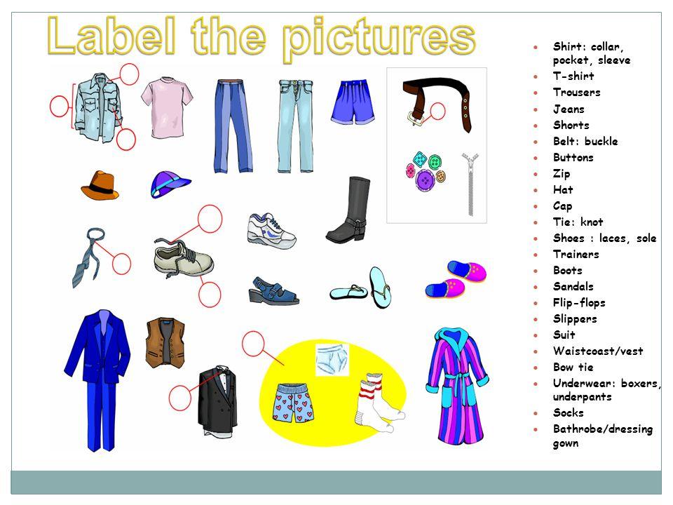 Shirt: collar, pocket, sleeve T-shirt Trousers Jeans Shorts Belt: buckle Buttons Zip Hat Cap Tie: knot Shoes : laces, sole Trainers Boots Sandals Flip-flops Slippers Suit Waistcoast/vest Bow tie Underwear: boxers, underpants Socks Bathrobe/dressing gown