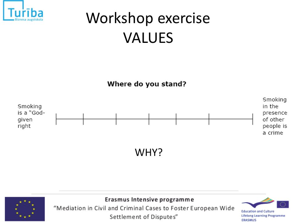 Workshop exercise VALUES WHY
