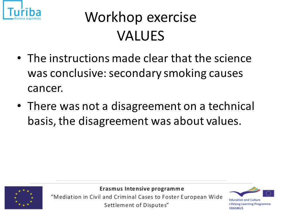 Workhop exercise VALUES The instructions made clear that the science was conclusive: secondary smoking causes cancer.