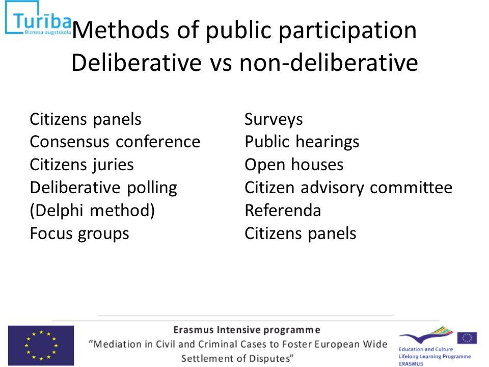Some methods of participatory democracy Popular/Citizens' initiatives Referenda Public consultation Surveys Focus groups Open houses Public hearings Negotiated rulemaking Consensus-building Etc.