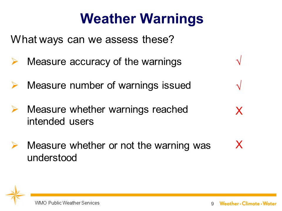 Weather Warnings What ways can we assess these.