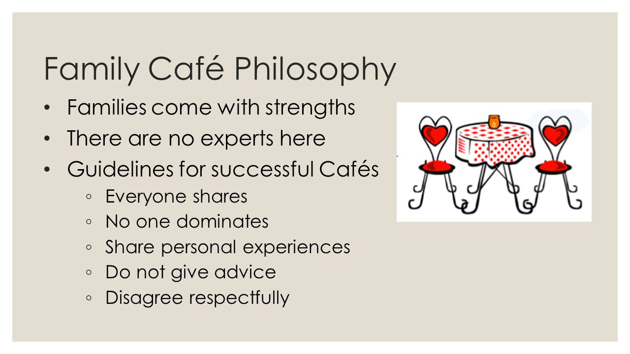 Family Café Philosophy Families come with strengths There are no experts here Guidelines for successful Cafés ◦ Everyone shares ◦ No one dominates ◦ S