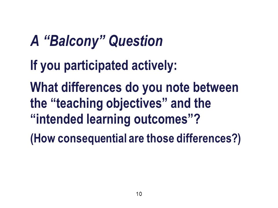 10 A Balcony Question If you participated actively: What differences do you note between the teaching objectives and the intended learning outcomes .