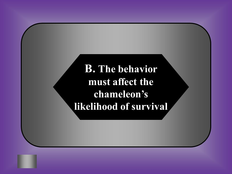 A:B: The behavior must attract other chameleons The behavior must affect the chameleon's likelihood of survival C:D: The behavior must occur only during certain seasons None of these #11 A chameleon has the ability to change colors when needed.