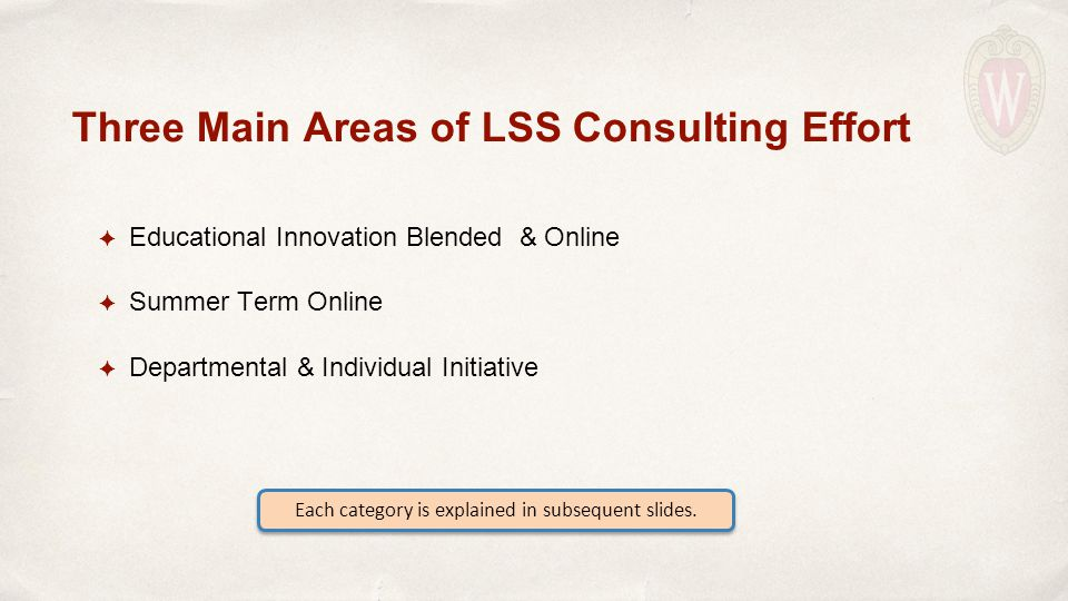 ✦ Educational Innovation Blended & Online ✦ Summer Term Online ✦ Departmental & Individual Initiative Three Main Areas of LSS Consulting Effort Each category is explained in subsequent slides.