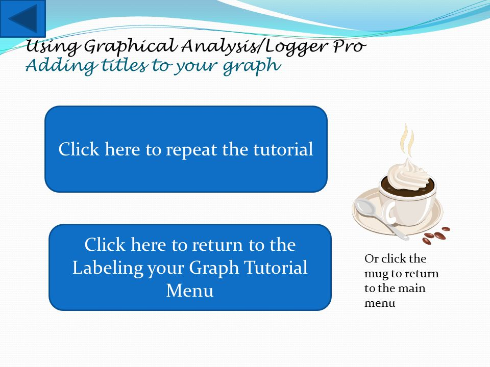 Using Graphical Analysis/Logger Pro Adding titles to your graph Click here to repeat the tutorial Click here to return to the Labeling your Graph Tuto
