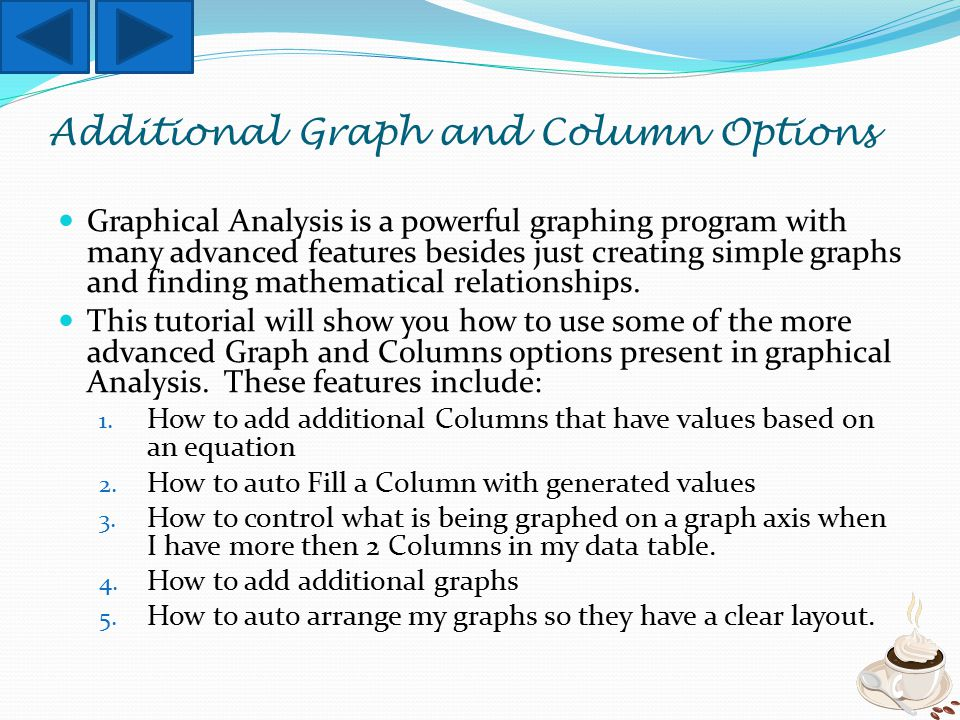 Graphical Analysis is a powerful graphing program with many advanced features besides just creating simple graphs and finding mathematical relationships.