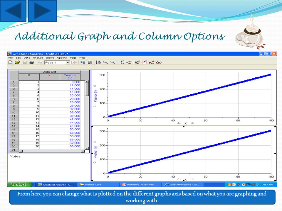 Additional Graph and Column Options From here you can change what is plotted on the different graphs axis based on what you are graphing and working w