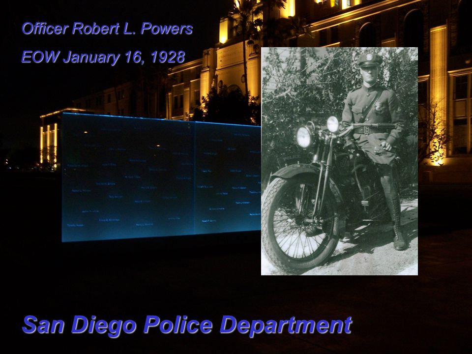 Officer Robert L. Powers EOW January 16, 1928 San Diego Police Department