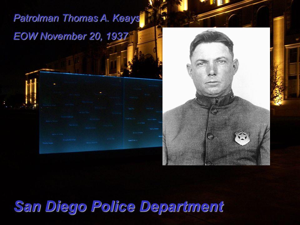 Patrolman Thomas A. Keays EOW November 20, 1937 San Diego Police Department