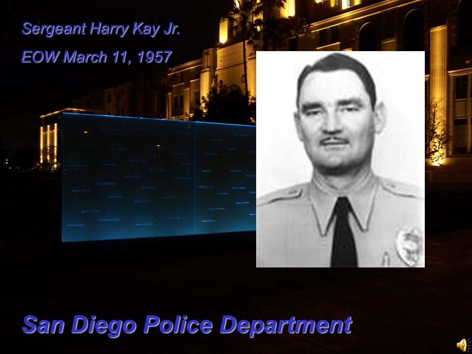 Sergeant Harry Kay Jr. EOW March 11, 1957 San Diego Police Department