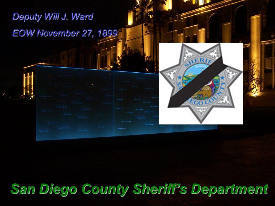 Deputy Will J. Ward EOW November 27, 1899 San Diego County Sheriff's Department
