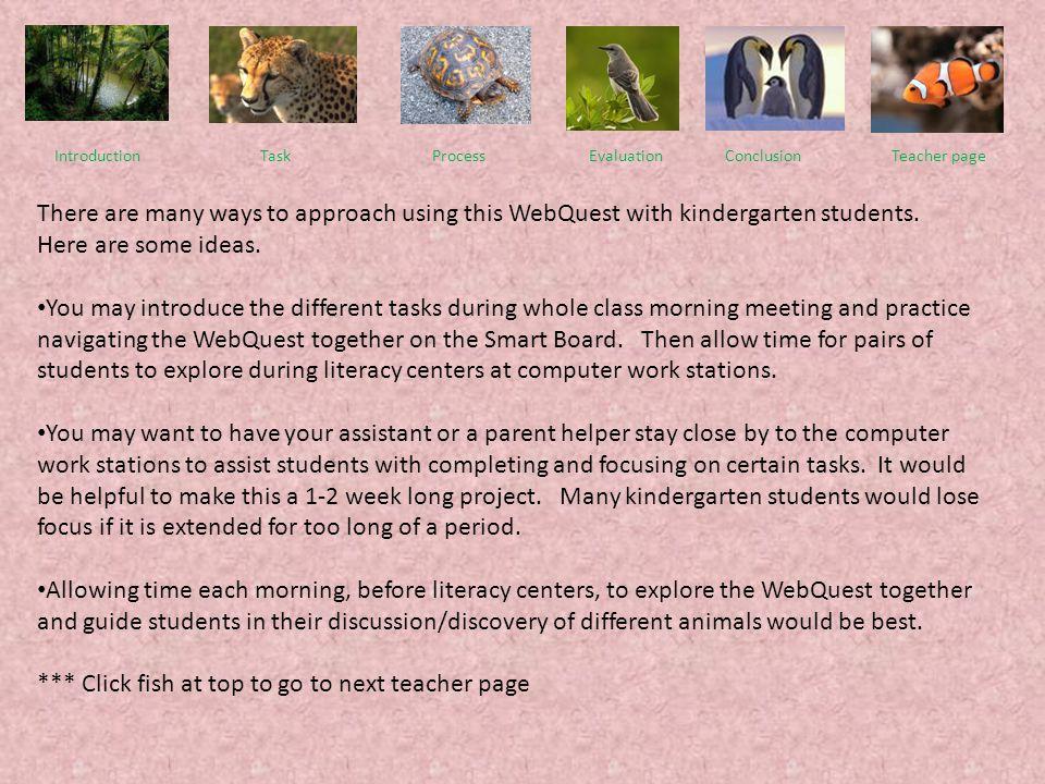 Introduction Task Process EvaluationConclusionTeacher page This WebQuest is designed for kindergarten students. This WebQuest covers kindergarten life