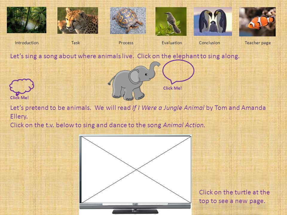 Introduction Task Process EvaluationConclusionTeacher page Click on the following animals to play animal games and learn more about animals. Animals a