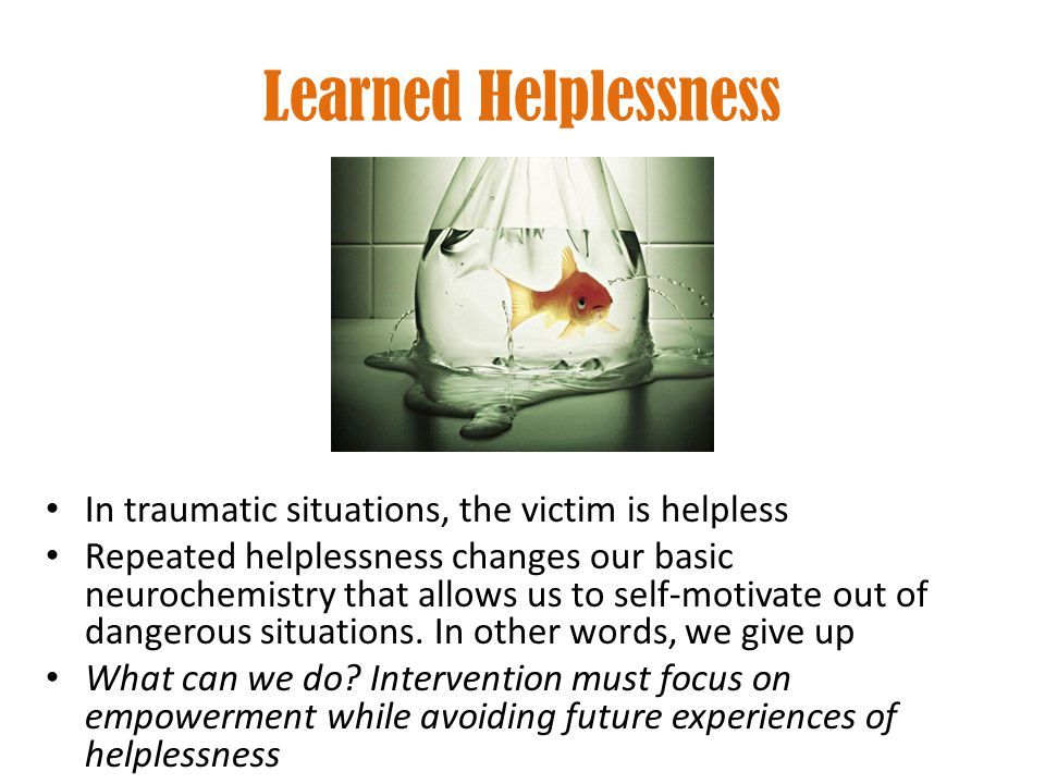 Learned Helplessness In traumatic situations, the victim is helpless Repeated helplessness changes our basic neurochemistry that allows us to self-mot