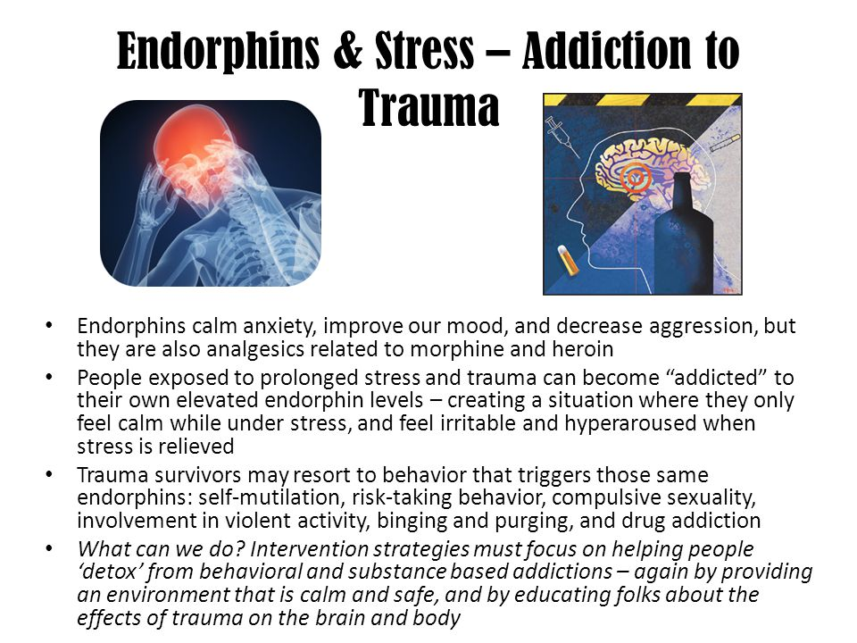 Endorphins & Stress – Addiction to Trauma Endorphins calm anxiety, improve our mood, and decrease aggression, but they are also analgesics related to