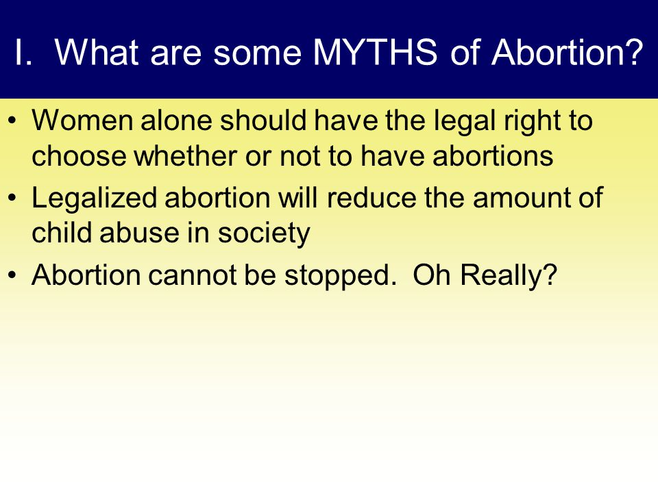 I. What are some MYTHS of Abortion.