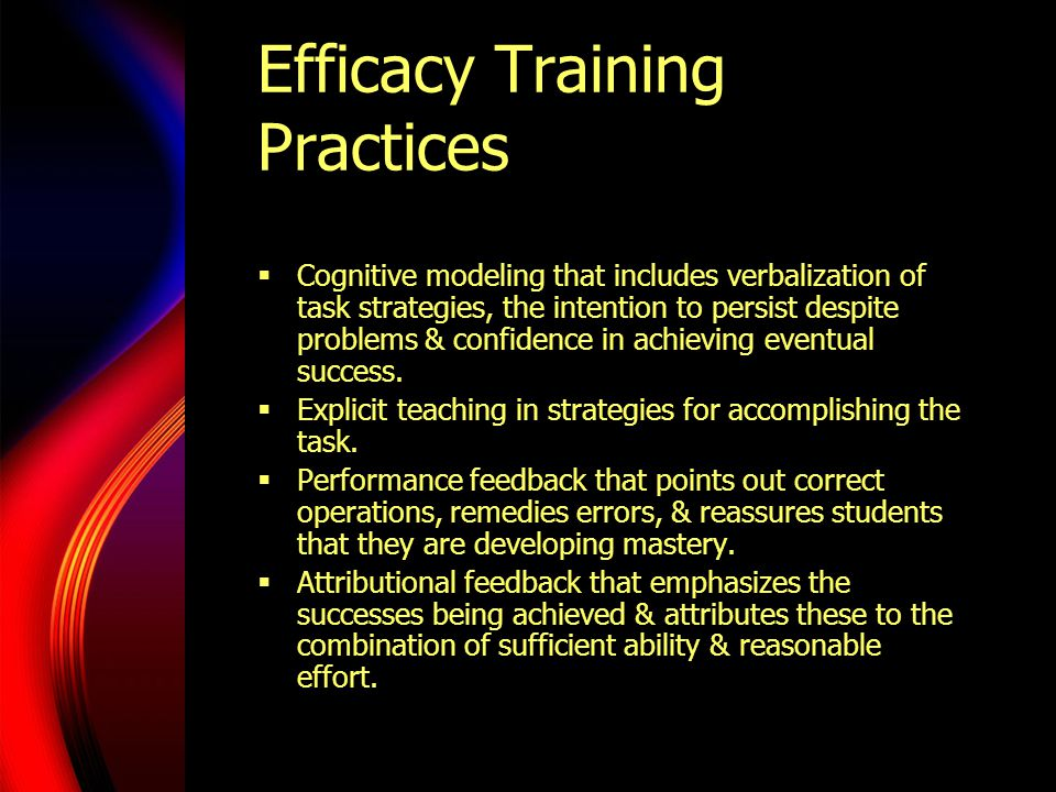 Efficacy Training Practices  Cognitive modeling that includes verbalization of task strategies, the intention to persist despite problems & confidence in achieving eventual success.