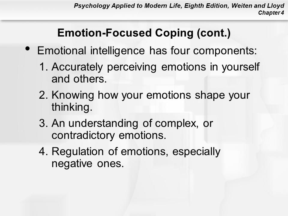 Psychology Applied to Modern Life, Eighth Edition, Weiten and Lloyd Chapter 4 Emotional intelligence has four components: 1.Accurately perceiving emotions in yourself and others.