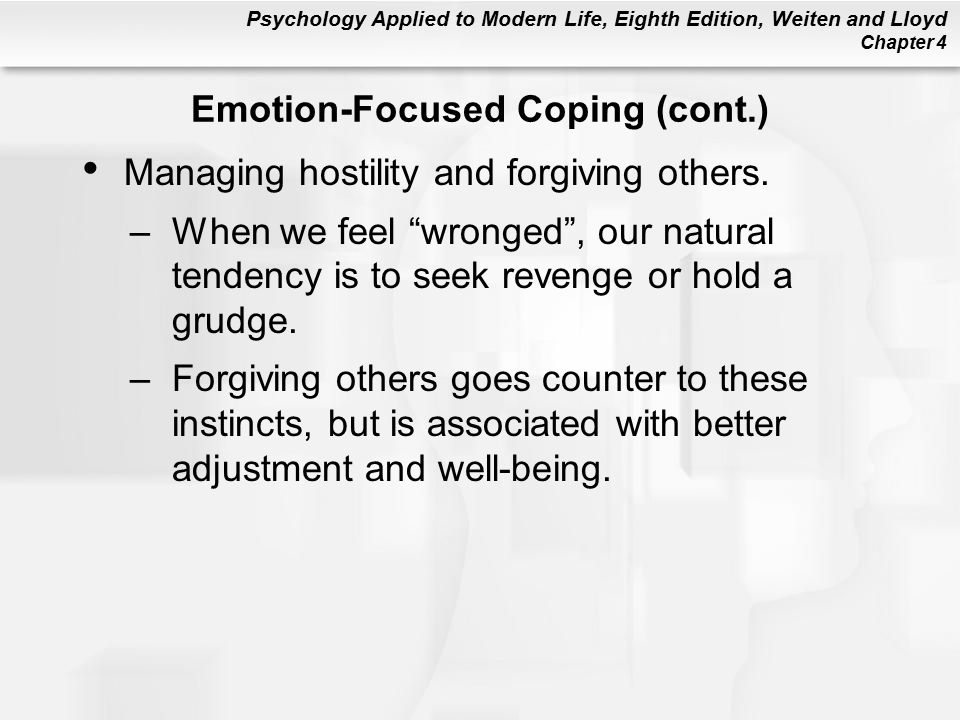 Psychology Applied to Modern Life, Eighth Edition, Weiten and Lloyd Chapter 4 Managing hostility and forgiving others.