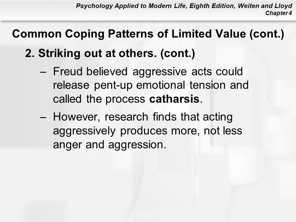 Psychology Applied to Modern Life, Eighth Edition, Weiten and Lloyd Chapter 4 2.Striking out at others.