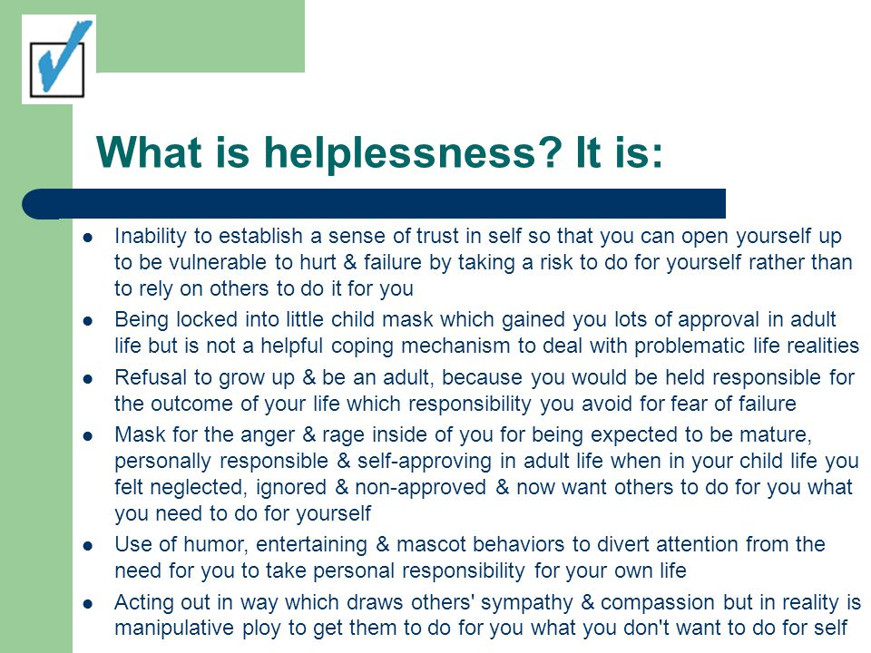 What is helplessness.