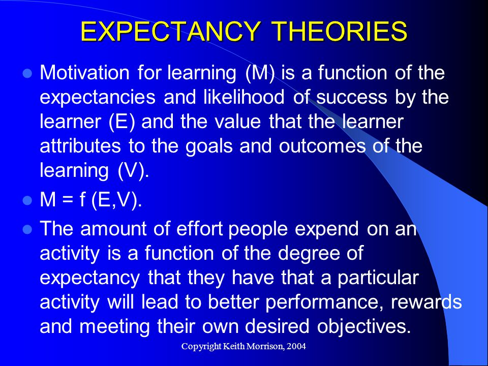 Copyright Keith Morrison, 2004 EXPECTANCY THEORIES Motivation for learning (M) is a function of the expectancies and likelihood of success by the learner (E) and the value that the learner attributes to the goals and outcomes of the learning (V).