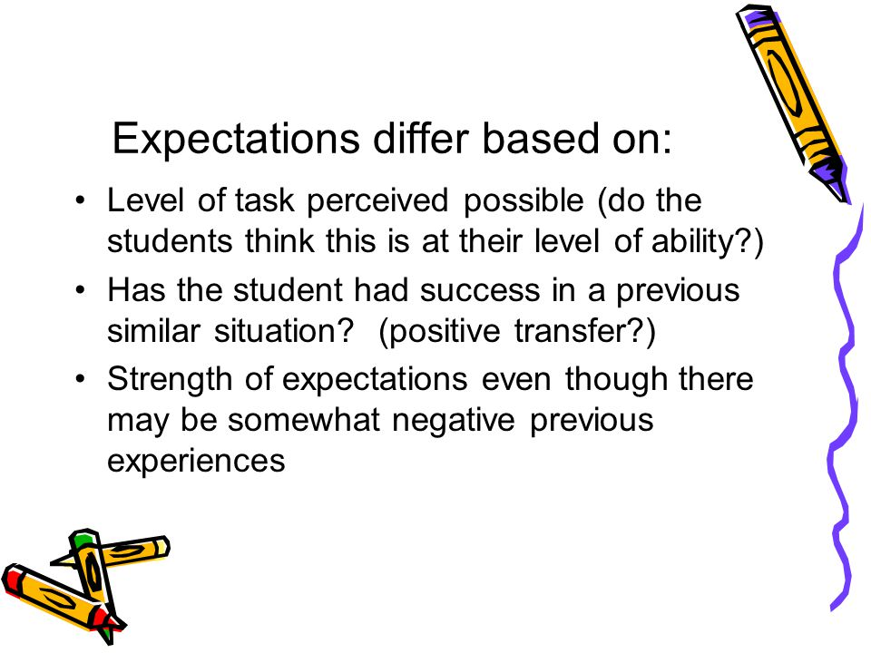 Expectations differ based on: Level of task perceived possible (do the students think this is at their level of ability ) Has the student had success in a previous similar situation.