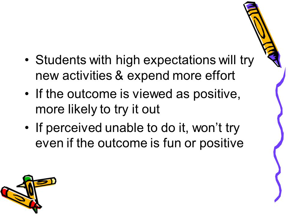 Students with high expectations will try new activities & expend more effort If the outcome is viewed as positive, more likely to try it out If perceived unable to do it, won't try even if the outcome is fun or positive