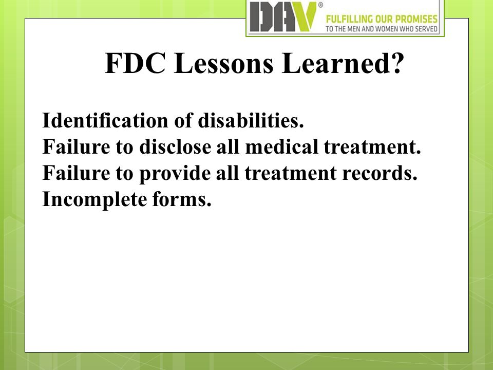 FDC Lessons Learned. Identification of disabilities.