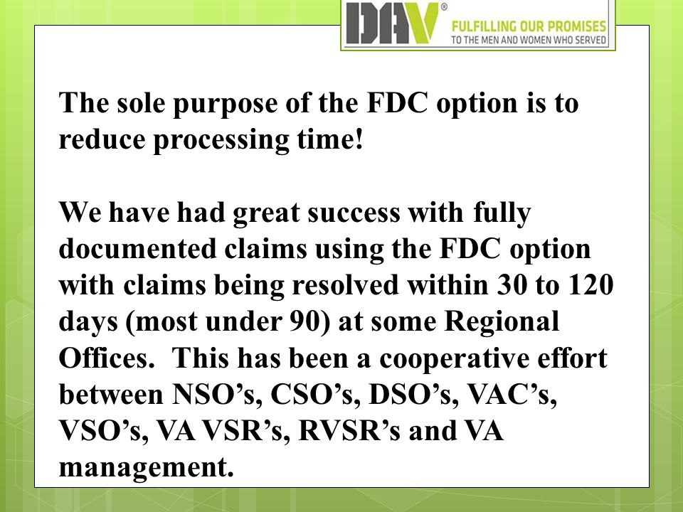 The sole purpose of the FDC option is to reduce processing time! We have had great success with fully documented claims using the FDC option with clai