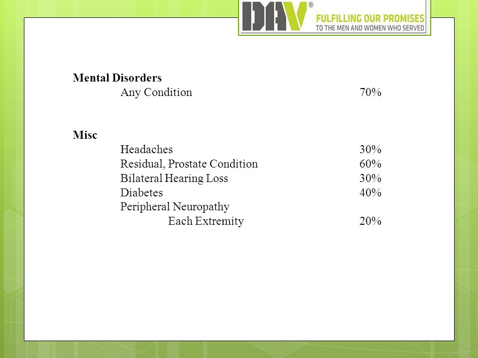 Mental Disorders Any Condition70% Misc Headaches30% Residual, Prostate Condition60% Bilateral Hearing Loss30% Diabetes40% Peripheral Neuropathy Each Extremity20%