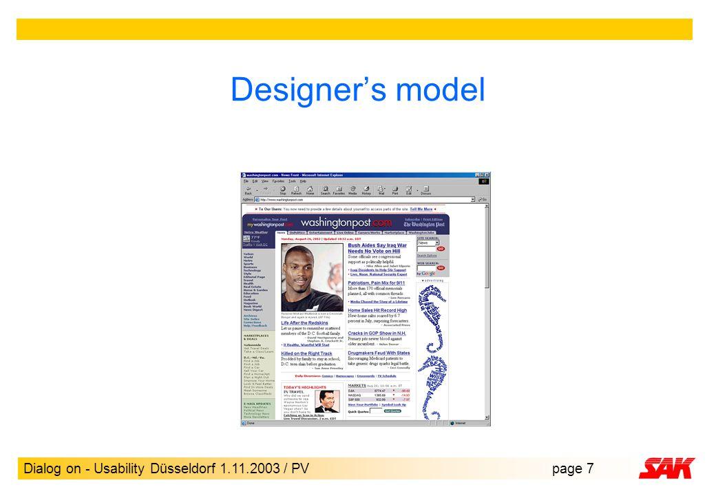 Dialog on - Usability Düsseldorf 1.11.2003 / PVpage 7 Designer's model