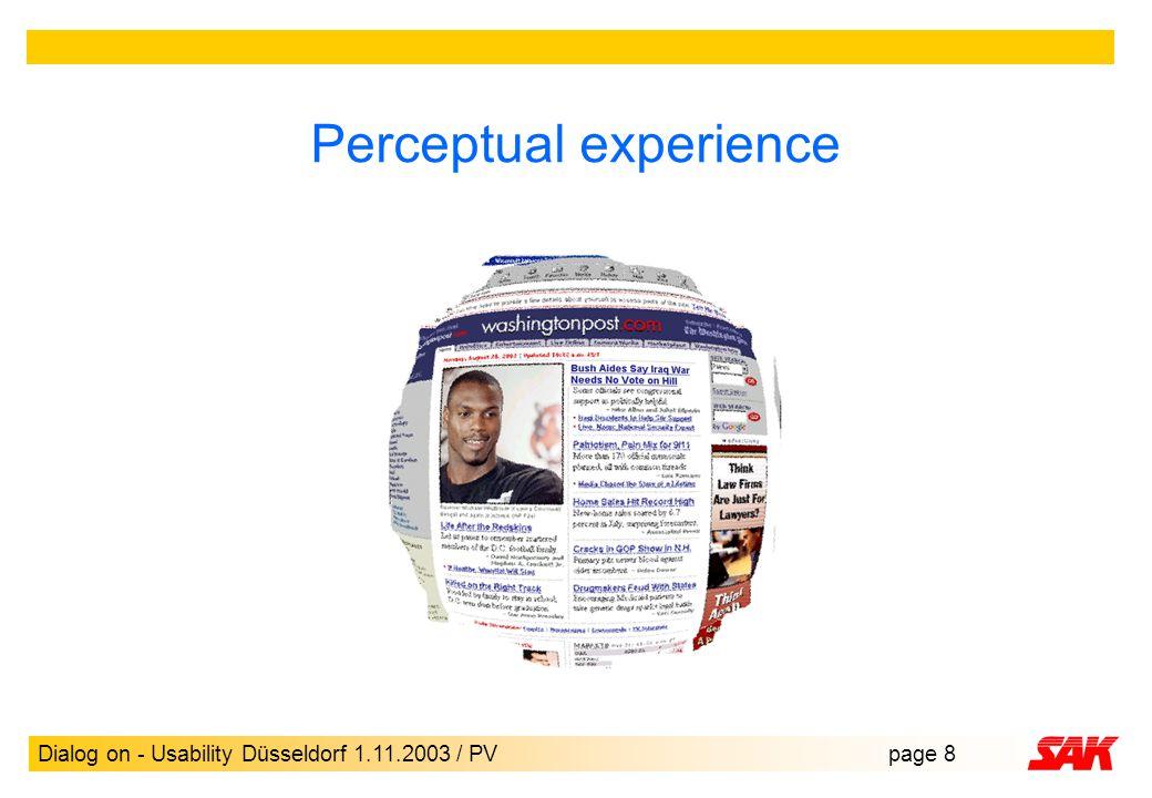 Dialog on - Usability Düsseldorf 1.11.2003 / PVpage 8 Perceptual experience