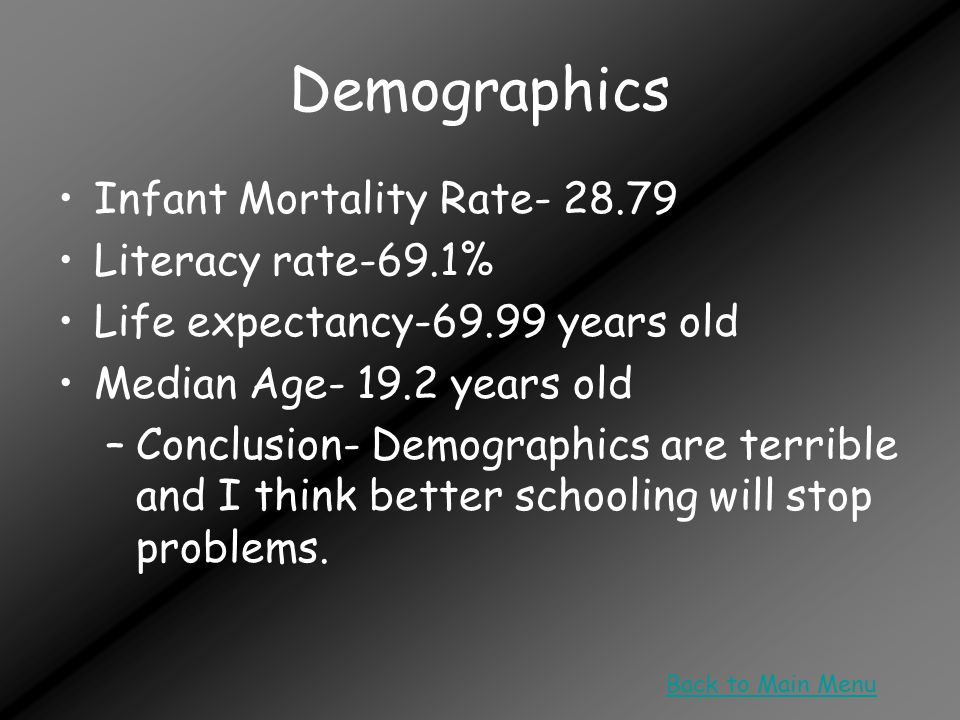 Demographics Infant Mortality Rate- 28.79 Literacy rate-69.1% Life expectancy-69.99 years old Median Age- 19.2 years old –Conclusion- Demographics are terrible and I think better schooling will stop problems.