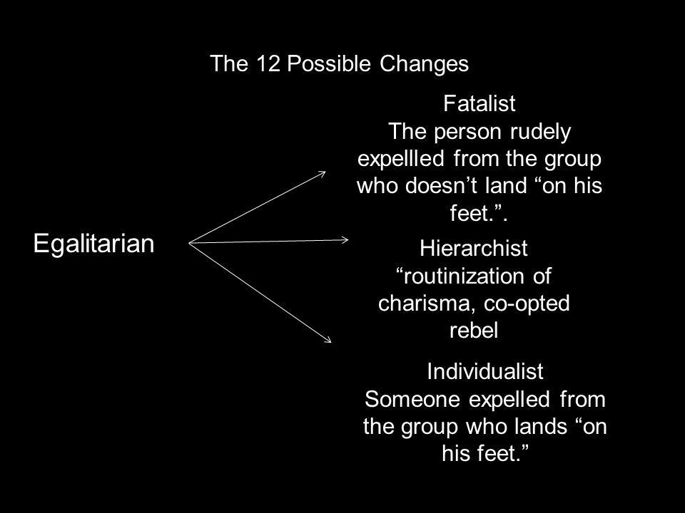 The 12 Possible Changes Egalitarian Fatalist The person rudely expellled from the group who doesn't land on his feet. .