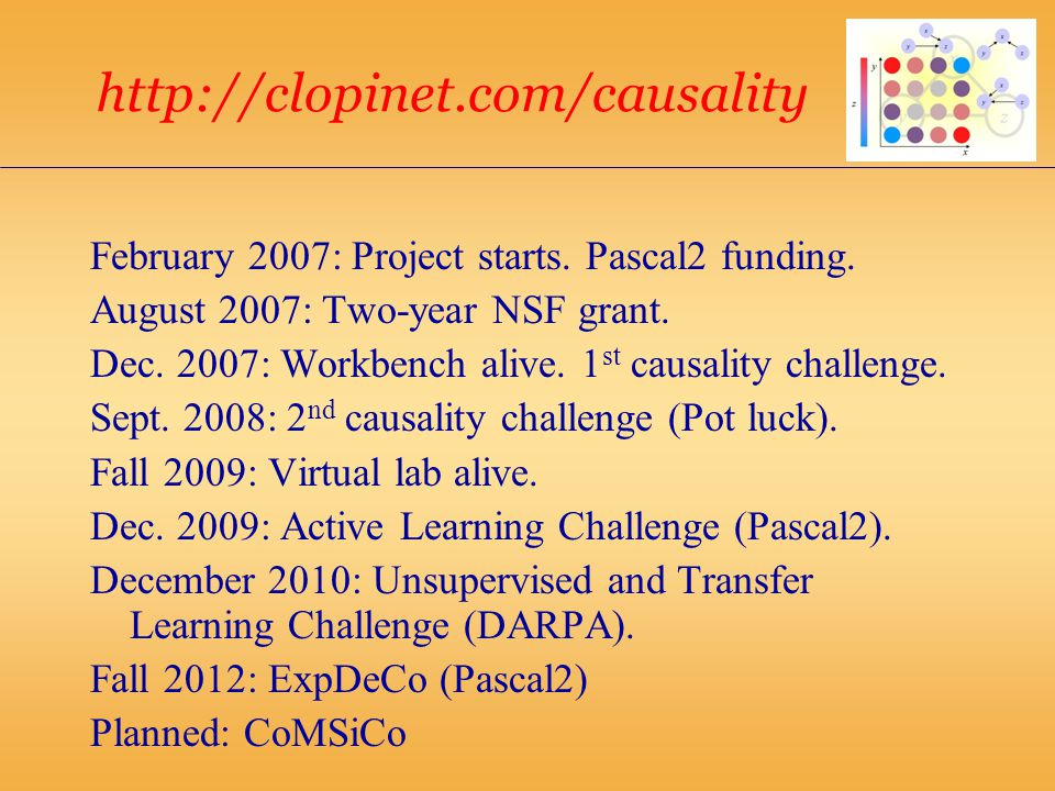 http://clopinet.com/causality February 2007: Project starts.