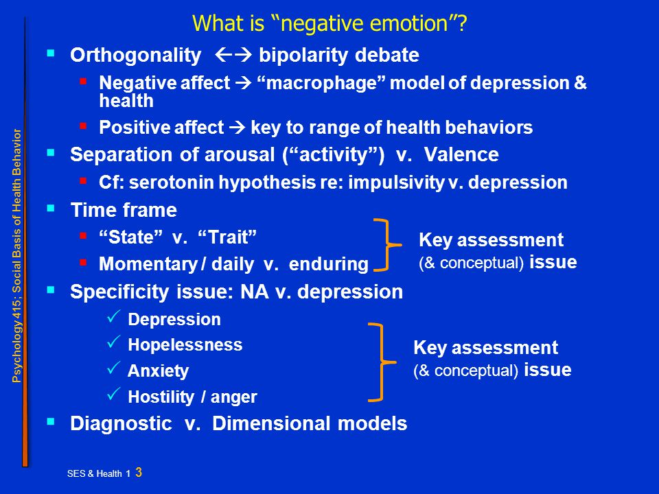 Psychology 415; Social Basis of Health Behavior SES & Health 1 3 What is negative emotion .