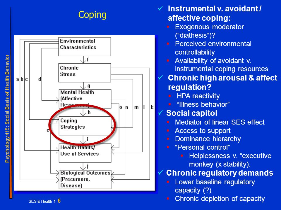 Psychology 415; Social Basis of Health Behavior SES & Health 1 6 Coping Instrumental v.