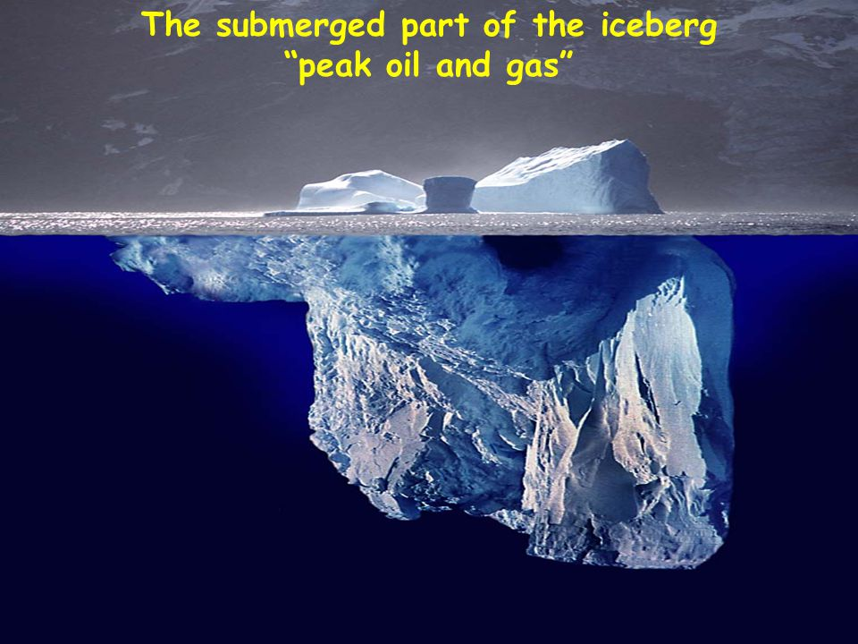 """The submerged part of the iceberg """"peak oil and gas"""""""