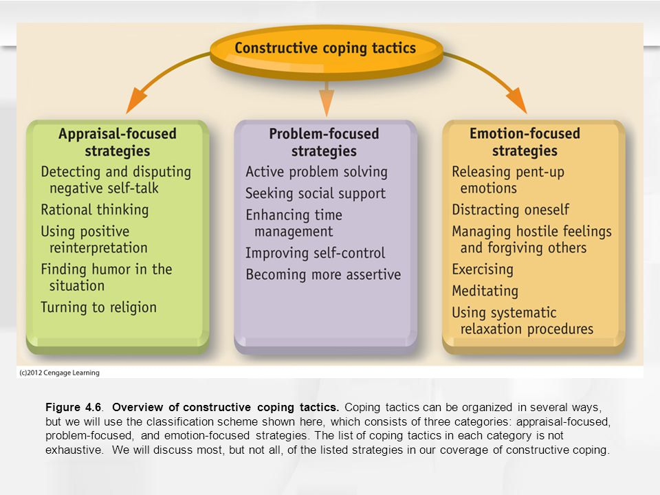 Figure 4.6. Overview of constructive coping tactics. Coping tactics can be organized in several ways, but we will use the classification scheme shown