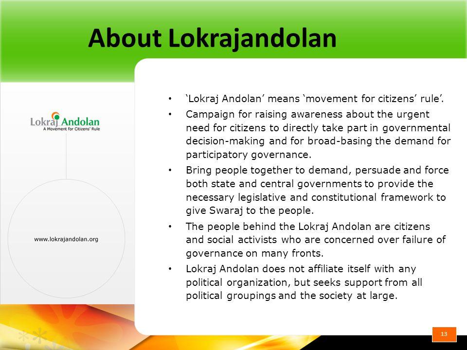 About Lokrajandolan 'Lokraj Andolan' means 'movement for citizens' rule'.