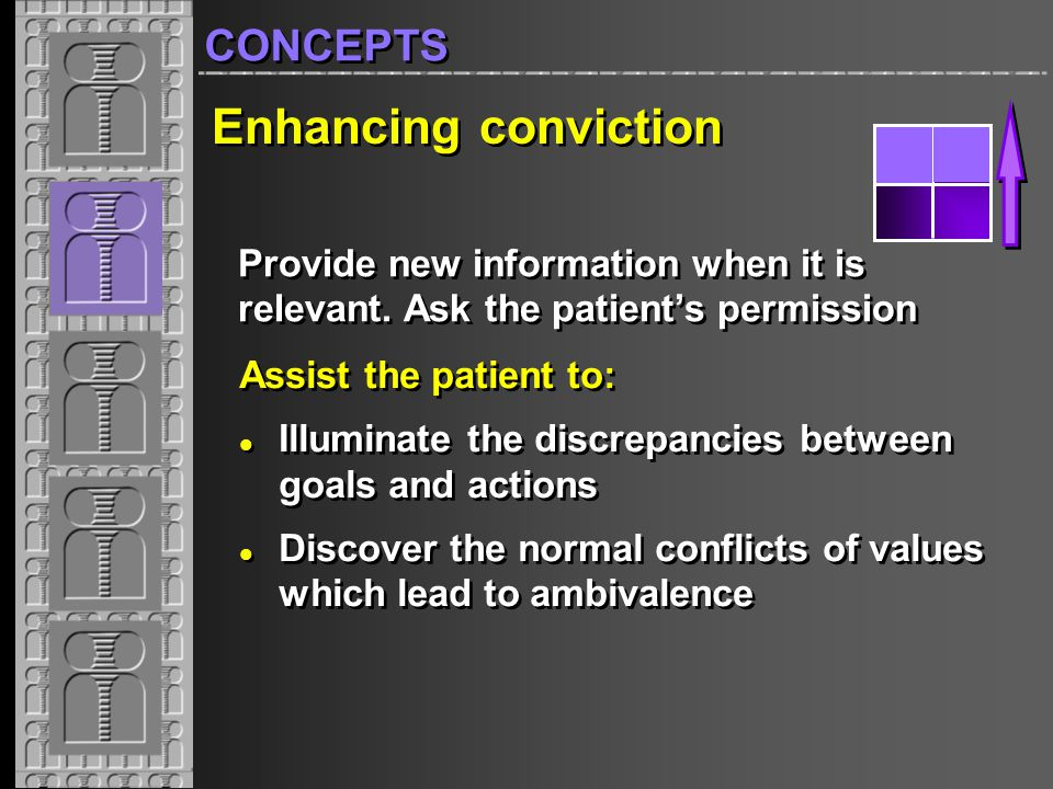 1904 1-40 Enhancing conviction Assist the patient to: Illuminate the discrepancies between goals and actions Discover the normal conflicts of values which lead to ambivalence Assist the patient to: Illuminate the discrepancies between goals and actions Discover the normal conflicts of values which lead to ambivalence Provide new information when it is relevant.
